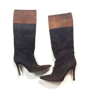 Kate Spade 7.5 Brown Stiletto Boots Calf Suede